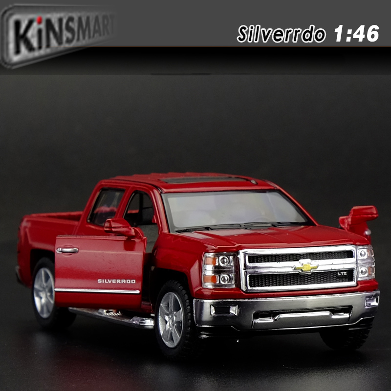 KINGSMART 1/46 Scale Car Model Toys Chevrolet Silverado Pickup Diecast Metal Pull Back Car Toy For Gift Collection(China (Mainland))