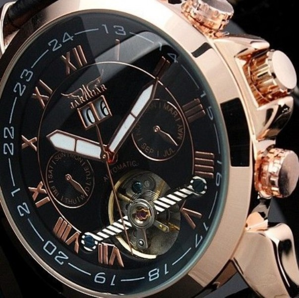 2015 Luxury Brand JARAGAR Auto Mechanical Watches Men 4 Hands Date Tourbillon Mens Wrist Watch Free Ship Gift Box(China (Mainland))