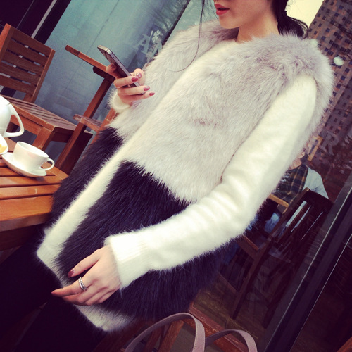 Women Winter Knitted Mink Fur Coat Lady Faux Rabbit Abrigos Mujer Spring Fox Fur VestОдежда и ак�е��уары<br><br><br>Aliexpress