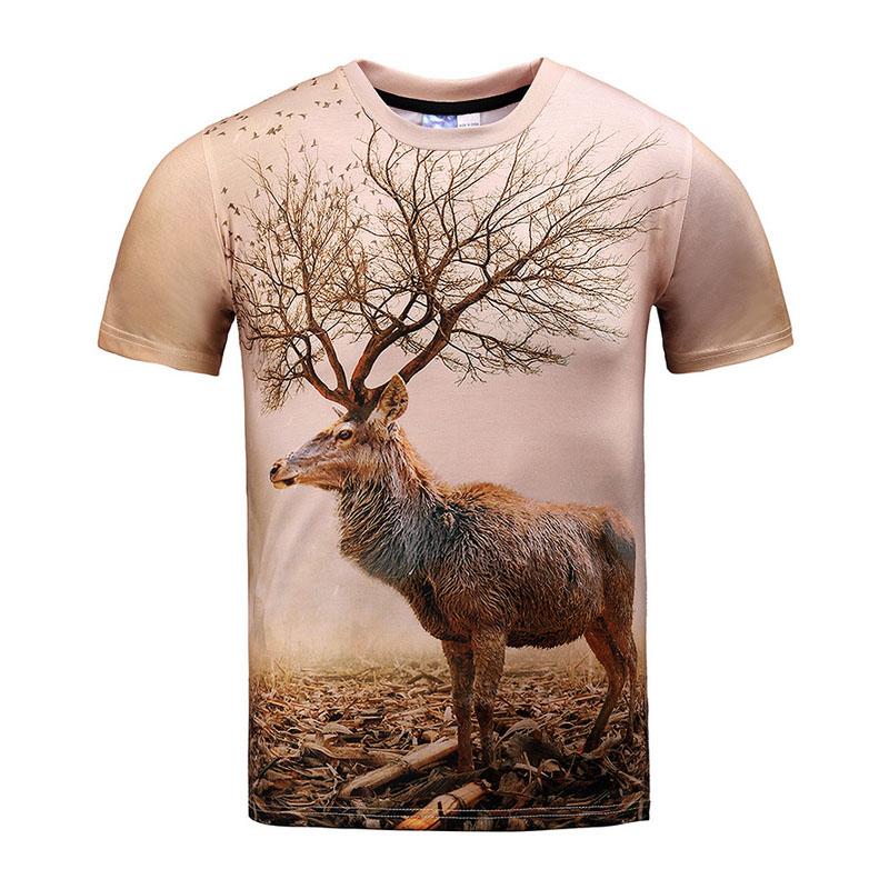 Sika Deer Men 3d Printed T-Shirts Obama Brown Streetwear Tee Shirts Women O-Neck Animal Summer Character Print Anime T Shirts(China (Mainland))