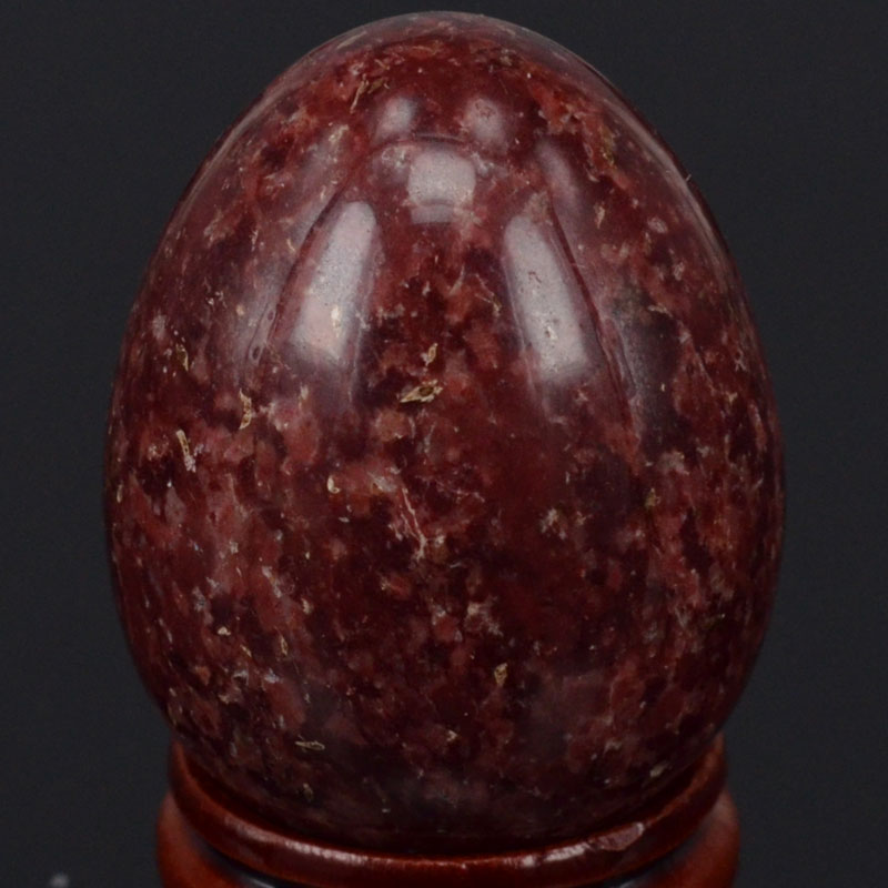 Natural Gemstone Dark Red Spot Jasper Sphere Egg Chakra Healing Reiki Stone Carving Crafts W/Stand(China (Mainland))