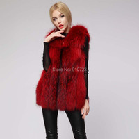 High Quality Fashion Faux Fur Vest in Women Wine Red Sleeveless Faux Fox Fur Jacket Winter Outerwear Patchwork Fringe HONCHAN