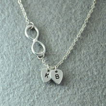 Personalized infinity necklace, Custom Initials necklace, Personalized Jewelry, Hand stamped Jewelry, Alloy hand made jewelry(China (Mainland))