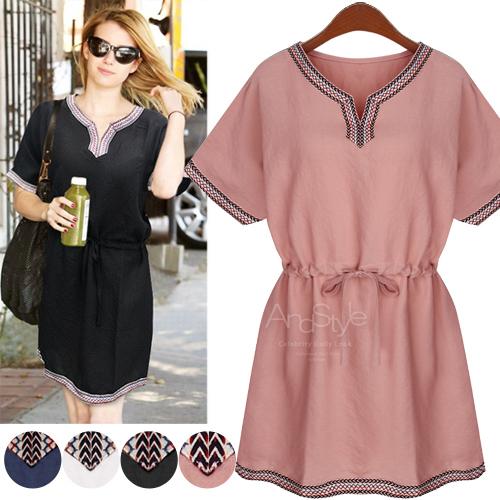 Summer Women dress Short Sleeve Embroidery National Wind Draw String Waist Dresses White Pink Black Dark Blue 8841(China (Mainland))