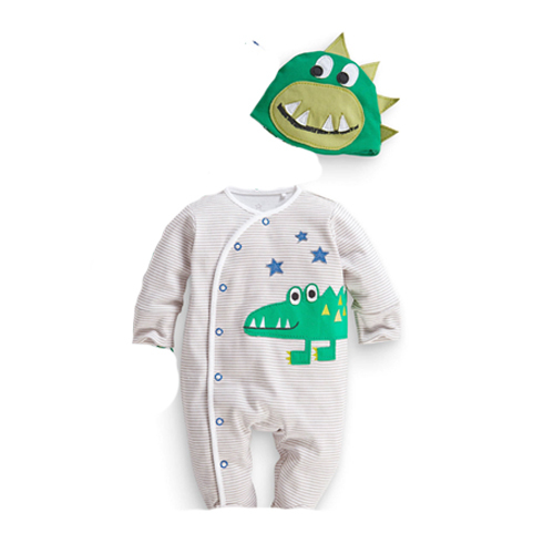 2015 new children's clothing boys and girls casual cartoon cotton Crocodile cows Romper baby jumpsuit hat lovely sets(China (Mainland))