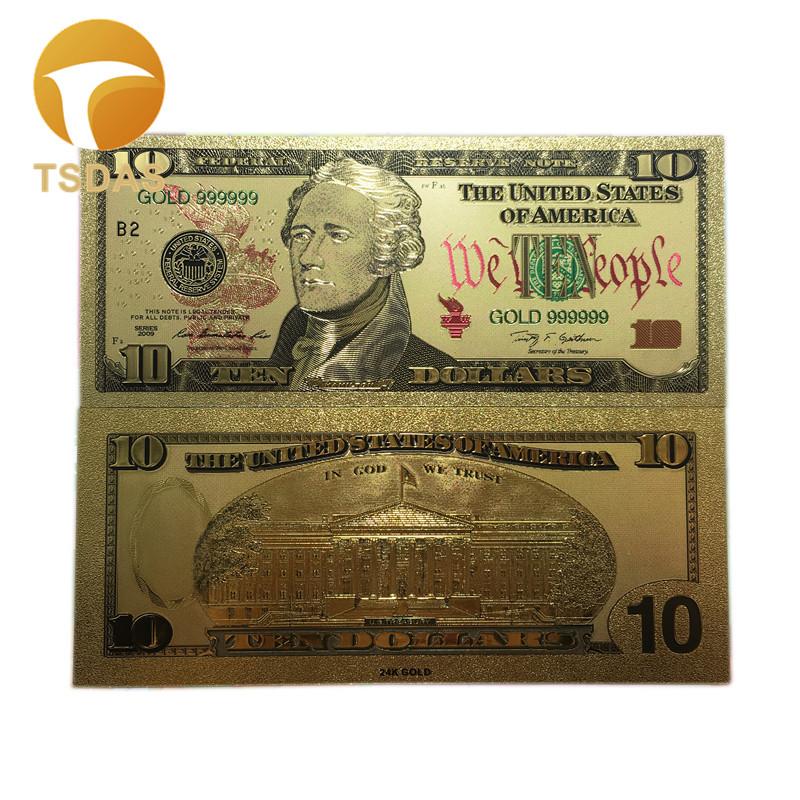 Покрытые настоящим золотом Банкноты набор USD 100/50/20/10/5 коллекции. 999 чистый Билл 24 10