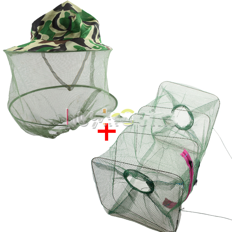 MiniBid Best choice Fish Crawdad Shrimp Fishing Bait Trap Cast Dip Net + Camouflage Mesh Face Mask Cap Mosquito Bee Bug Hat Hot(China (Mainland))
