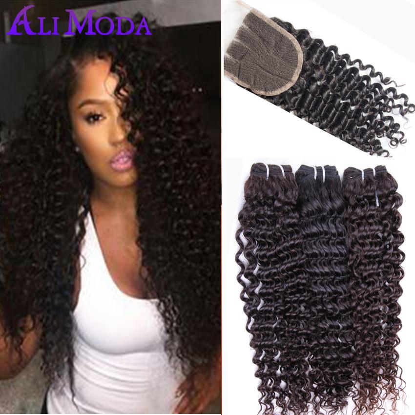 7A Brazilian Virgin Hair With Closure 3 Bundles Brazilian Deep Wave With Closure Unprocessed Brazilian Curly Human Hair Weaves