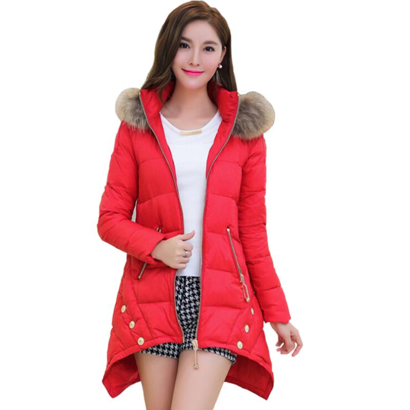 Women Winter Jackets Elegant Coats Large Raccoon Collar Zipper Asymmetric Hooded Duck Down Jacket Thick Parkas Womens Clothes