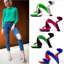 2015 summer new European style fashion star The same paragraph bottomless high heels fish head hollow sandals F1988(China (Mainland))