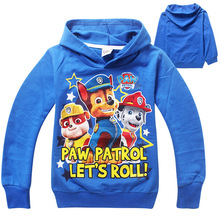 2105 New 1 pcs PAW PATROL clothes cotton boys hoodies long sleeve brand boys coolie children hoody/boys hoodies and sweatshirts