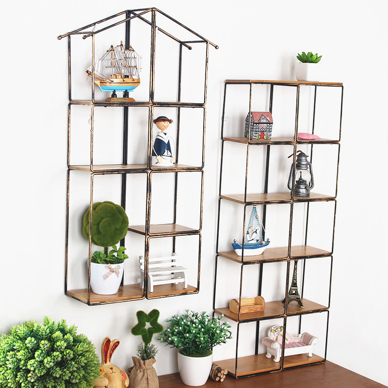 large metal storage box iron wall hanger holder multifunction rack with solid wood trays shelf home cheap office shelving