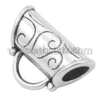 Tibetan Style Tube Antique Silver Tone Alloy Hangers Bail Beads Lead Free Cadmium Free and