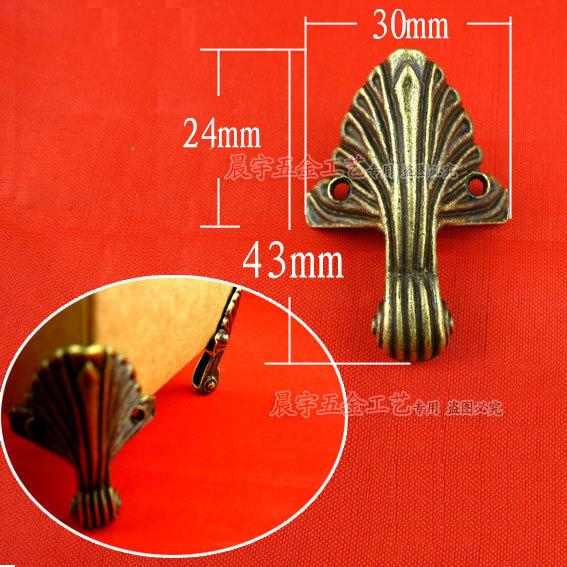 Wholesale Hardware Jewelry box feet Corner bracket Decorative box corners Feet care Metal corner 43*30mm 50pcs/lot Free shipping(China (Mainland))