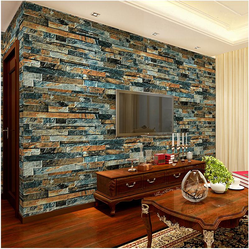 Selbstklebende Tapete Ziegel : Moderne Luxus Stein Ziegel 3D Tapete Esszimmer TV Hintergrund