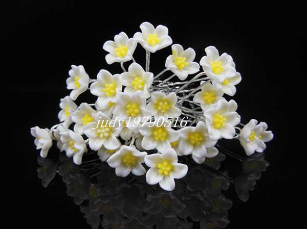 200 Pcs Lot Wedding Bridal Prom White Flower Hair Pins Hair Clip Jewelry Accessories Ornaments Free Shipping(China (Mainland))
