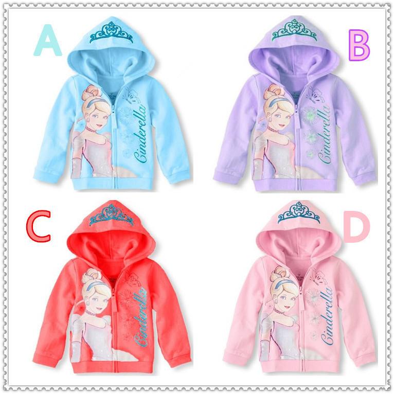 Spring and Autumn Hooded girls jacket cartoon Cinderella Crown zipper girls coats casual kids outwear baby girl clothes 5pcs/lot<br><br>Aliexpress