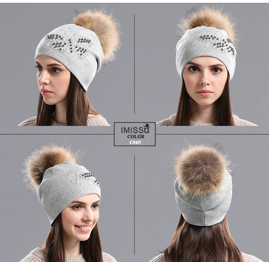 IMISSU Winter Beanies Hats Knitted Wool Casual Cap with Real Raccoon Fox Fur Pom Pom Gorros Casquette Female Winter Fur Hat