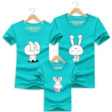 1 pc Rabbit 95% Cotton Red White Family Couple T Shirt Cartoon Women Men XL Shirts Kid Summer Short Sleeves Good Rabbit T-Shirts