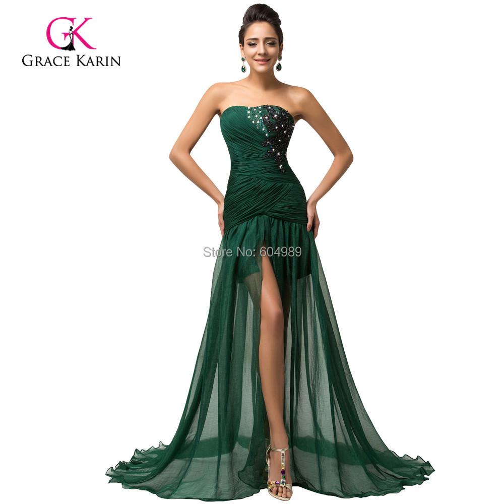 Grace Karin elegant Long dark emerald Green Mermaid Prom ...