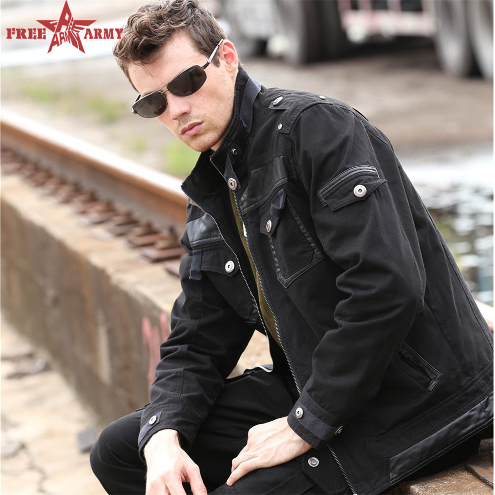 Hot Fashion Outdoor Autumn jacket Black Mandarin Collar Men jacket winter jean military Large size male clothing MS-6053C Z5(China (Mainland))