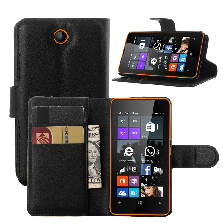 1PCS luxury Wallet Credit Card Book Style PU Flip Stand Leather Case Back Cover for Microsoft Nokia lumia 430 Smart Phone(China (Mainland))