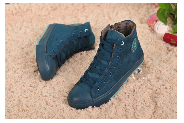 Free shipping winter high-top canvas shoes women flat shoes casual shoes to keep warm