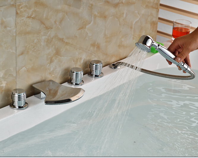 Фотография  Chorme Faucet Bathroom W/Hand Shower Faucet Hot&Cold Tap Three Handles Faucet
