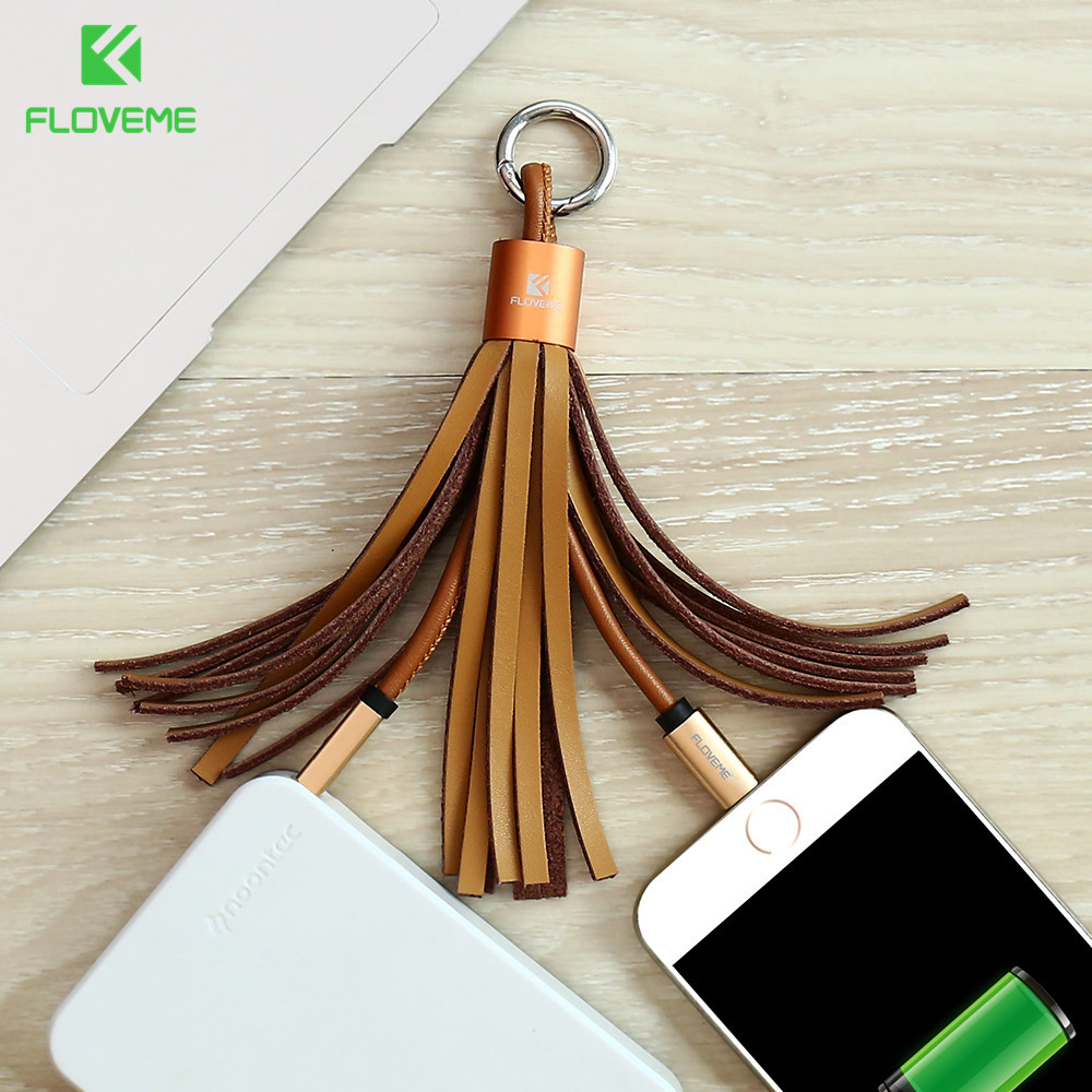 FLOVEME USB Charger Cable For Apple iPhone 6 6S 7 Plus Genuine Leather Tassel Micro USB Charger Data Cable For Android Phone(China (Mainland))