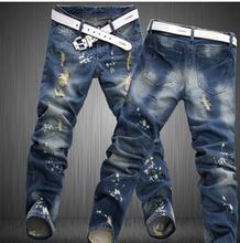 10pcs/lot LP65 free shipping 2015  male straight leg denim trousers men fashion brand jeans  mens business pants black jeans men(China (Mainland))