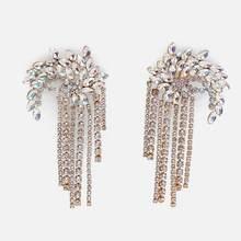 Dvacaman יוקרה ZA דובאי סגנון חתונת תכשיטי סטי ריינסטון קריסטל הצהרת כלה זהב טאסל שרשרת סט מתנה עבור נשים(China)