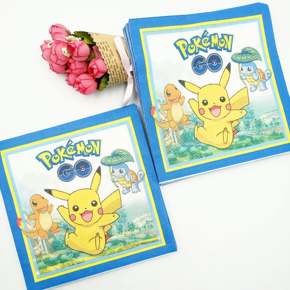 20pc/bag Cute Cartoon Pikachu Party Supplies Paper Napkin Birthday And Pokemon Go Party Decoration For Kids Party Favors