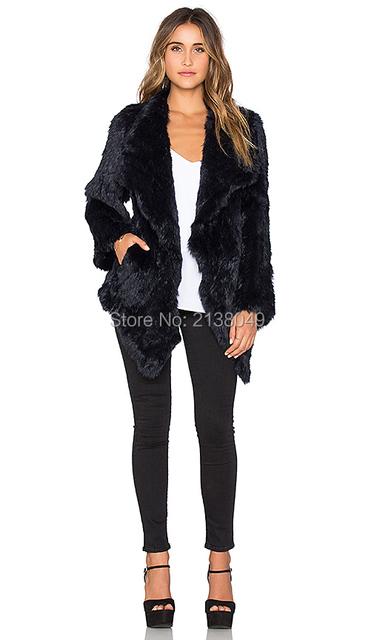 Fc01801 черный цвет мода женщин тонкий трикотажные реальные шубы из кролика