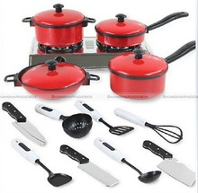 13Pcs Set Kid Children Red Kitchen Utensil Accessories Cooking Play Toy Cookware 70115302(China (Mainland))