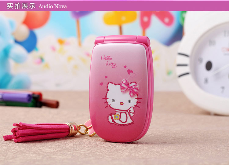 New 2015 Best Present For Cute Girl Lady Children Mini Cell Phone Hello Kitty W88 Flip Pocket Mobile Phone GSM Free Shipping(China (Mainland))