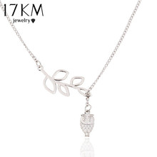 17KM New hot sale Fashion Luxury Leaf long chain Necklace Owl Pendants Statement Necklace jewelry for women Wholesale M13(China (Mainland))