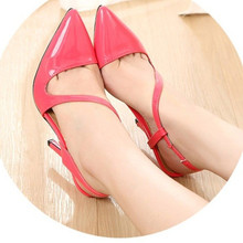 2015 western Lady's top selling sexy fashion Buckle Strap high heeled pointed toe shoes in spring autumn summer 4colors (4-12)