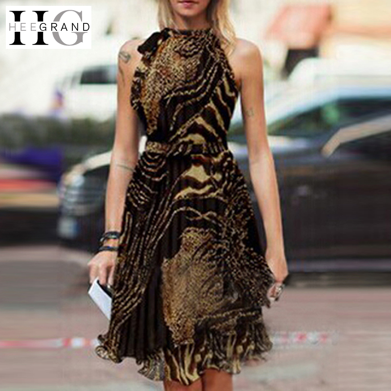 Dress 2015 Summer Style Ladies Casual Empire Sleeveless Pleated Vintage Chffion Leopard Knee-length Women Dresses WQW378(China (Mainland))