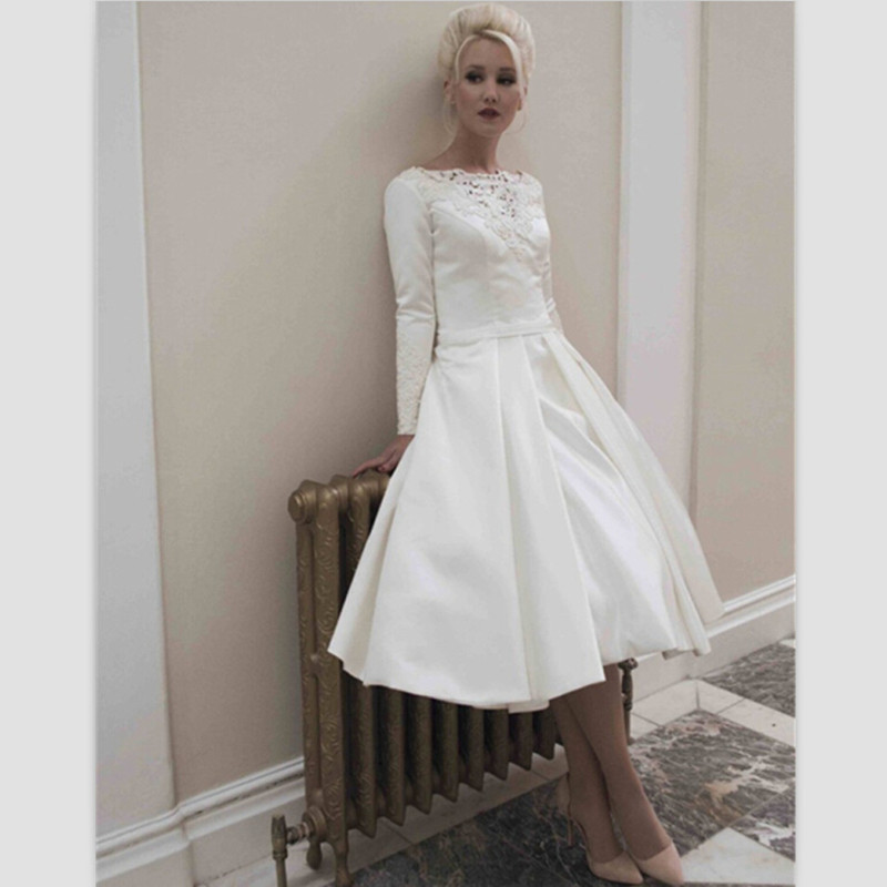Long Sleeve Tea Length Wedding Dress