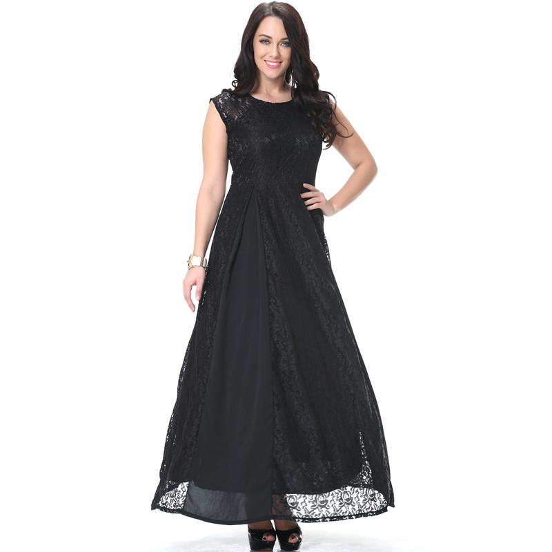 High quality women Elegant lace patchwork plus big size 5xl 6xl 7XL 8xl long maxi black dress dresses clothes clothing for women(China (Mainland))
