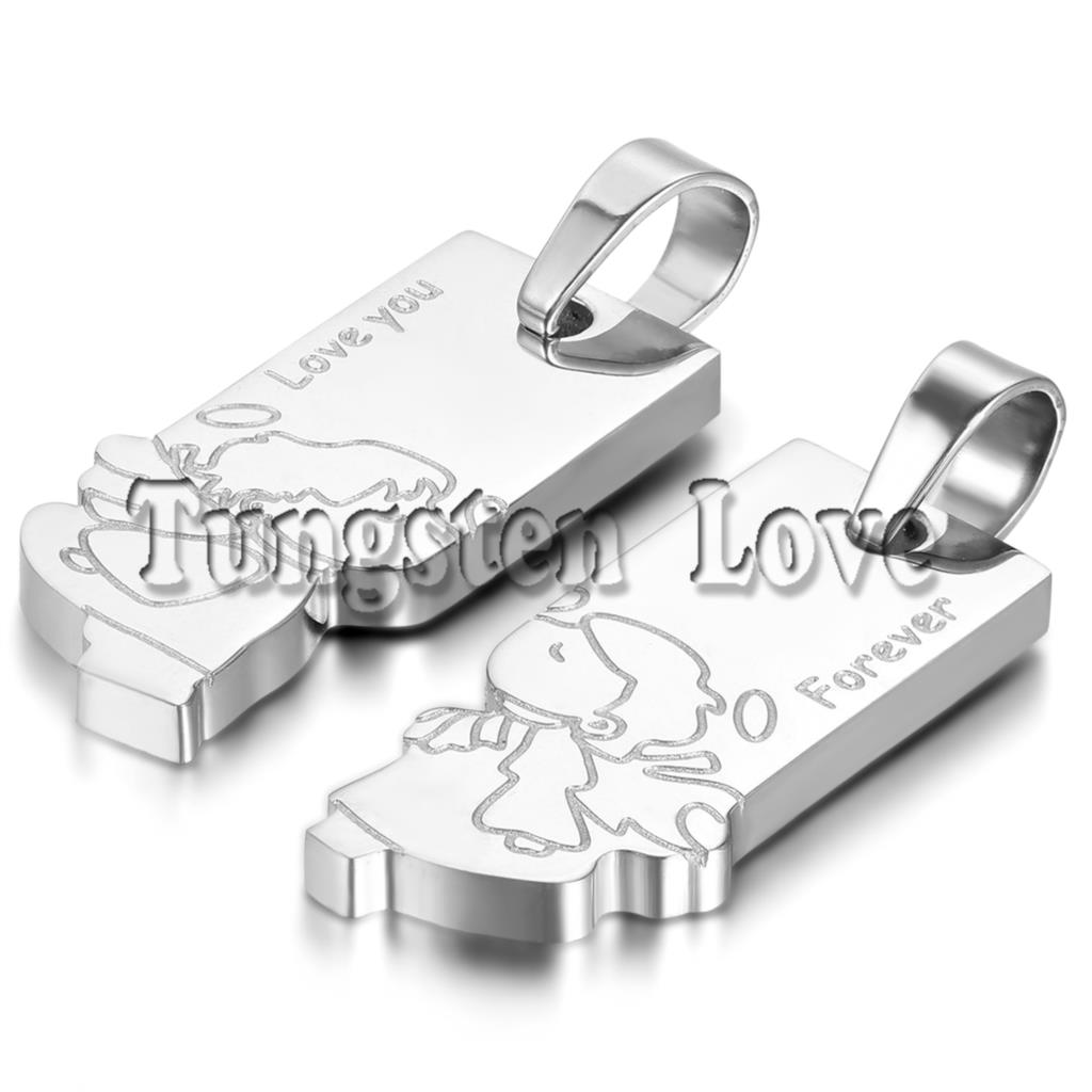 "2pcs/pair Fashion Couple Stainless Steel ""Forever Love You""Boy & Girl Doll Pendant Necklaces for Valentine Gift Silver Color(China (Mainland))"