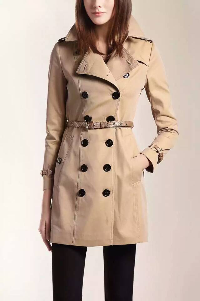 Hot Classic Women Fashion British Long Style Elegant Trench Coat/Designer Double Breasted Trench coat with genuine leather belt