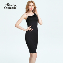 Buy DOVINRRY 2017 Casual Summer Dress Women One-Shoulder Sleeveless Party Dresses Black Knee-Length Pencil Beach Dress Brand Clothes for $11.21 in AliExpress store