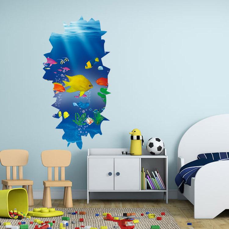 3D wall stickers undersea paradise refrigerator washing machine cupboard decorative stickers affixed creative personality(China (Mainland))