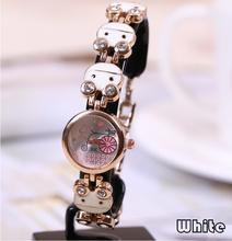 El nuevo Ladies relojes Rhinestone chapado en oro a la moda casual reloj pulsera de lujo gato de dibujos animados relojes de cuarzo correa relojes F438