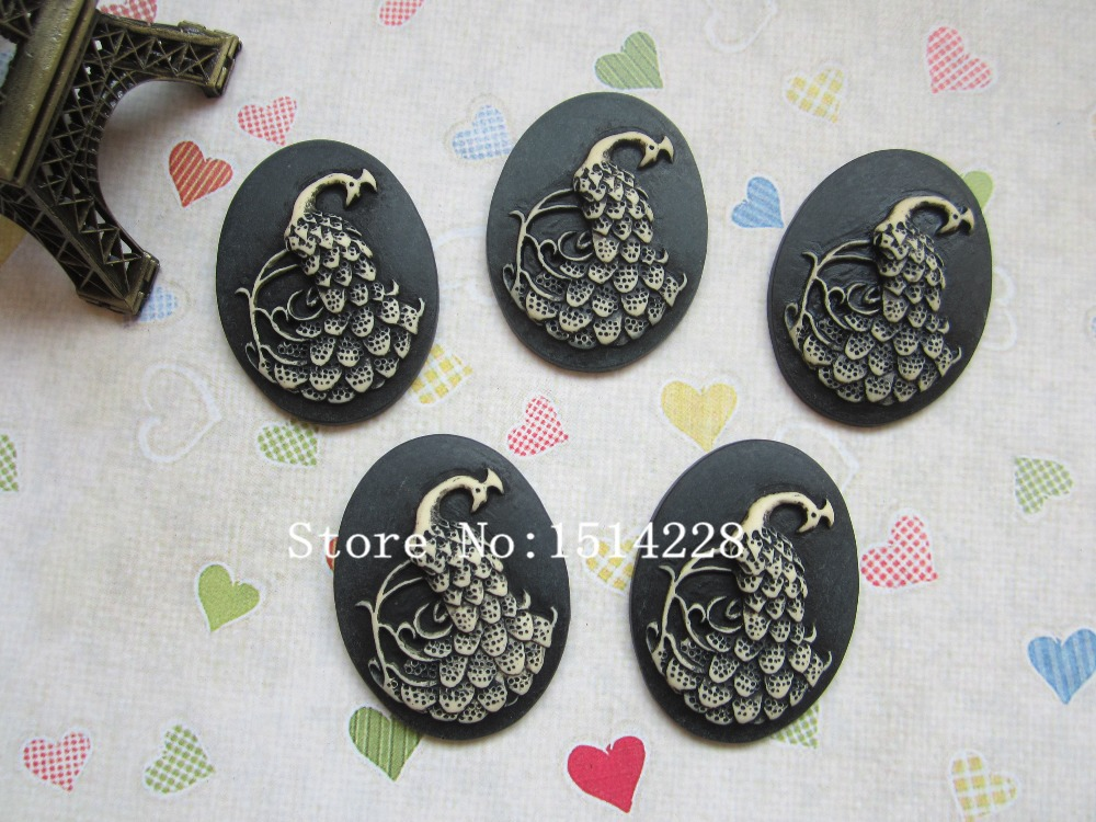 Free shipping! Resin Peacock Cameo Resin Flatback Cabochon for Necklace Pendant .Jewelry.DIY , 30*40mm(China (Mainland))