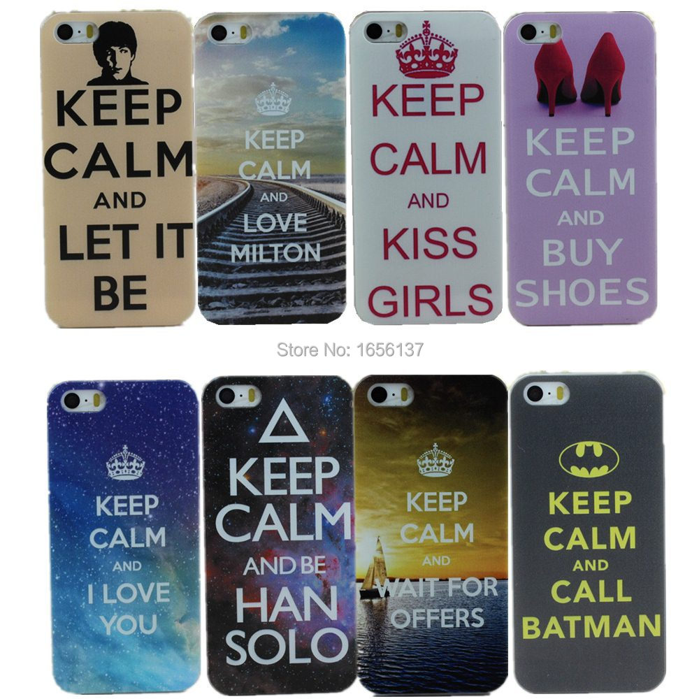Keep Calm Design Snap On white side Hard Plastic Mobile Phone Case Cover For Apple iPhone 5 5S 5G 1PCS Free Shipping(China (Mainland))