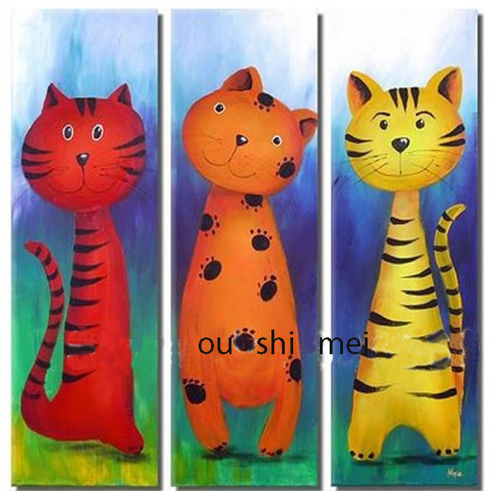 Handmade lovely kitty on canvas wall modern cat on canvas for Imagenes de cuadros abstractos famosos