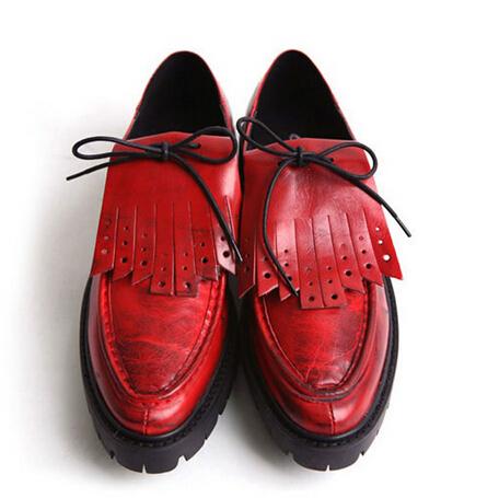 Британский стиль Мужчины Квартиры Натуральная кожа Платформа Акцентом Обувь Дышащая ...