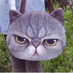 Fashion 2016 Spring Womens Girls Cute 3D Cat Face Zipper Tote Shoulder School Shopper Bag Handbag(China (Mainland))